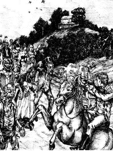 Darcy al rescate de Elizabeth ante una horda de zombis en Pemberley